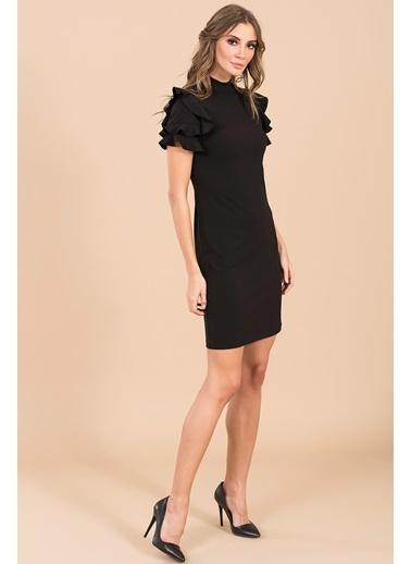 Fırfır Kol Detaylı Mini Elbise-İroni